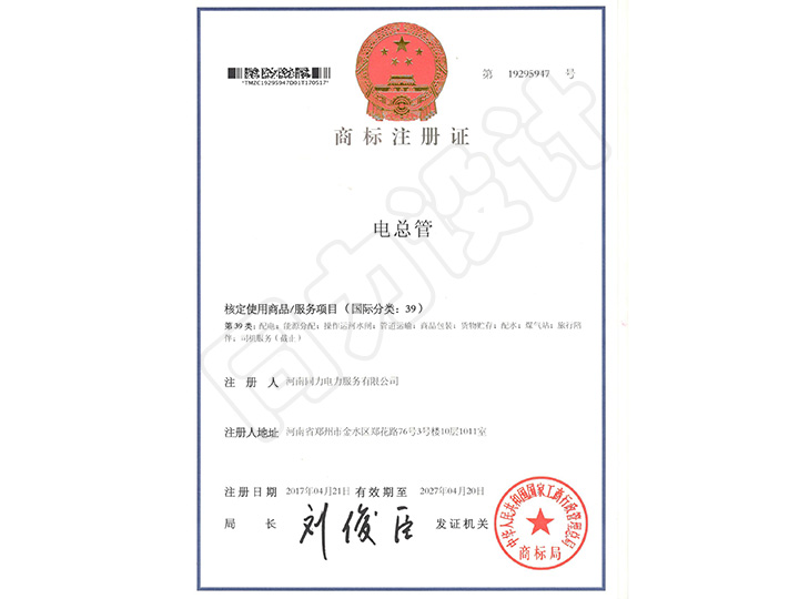 电总管商标注册证